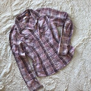 Tops - Purple & Pink Plaid Button Down Top